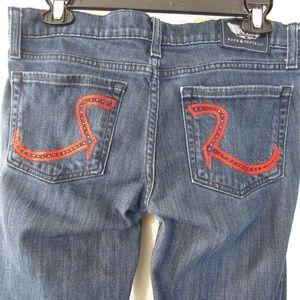 Blue Denim Jeans-Red Stitch-Crystals Pocket